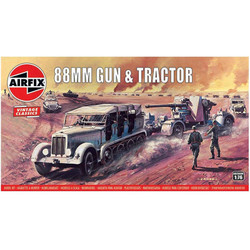 AIRFIX A02303V 88mm Flak Gun & Tractor Vintage Classics 1:76 Military Model Kit