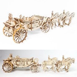 UGEARS Royal Carriage Wedding Carriage Mechanical Wooden Model Kit 70050