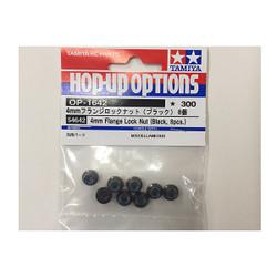 TAMIYA 54642 4mm Flange Lock Nuts (Black, 8 Pcs.) (Wheel Nuts/TT01/TT02/DT02)