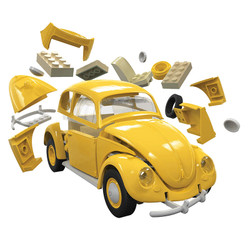 AIRFIX Quickbuild VW Beetle Yellow J6023 Car Model Kit
