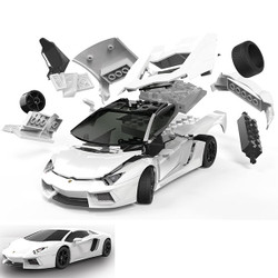 AIRFIX Quickbuild Lamborghini Aventador White J6019 Car Model Kit