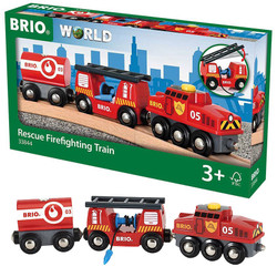 BRIO World 33844 Rescue Fire Fighting Train for Wooden Train Set