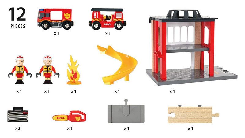 Brio World 33833 Central Fire Station For Wooden Train Set