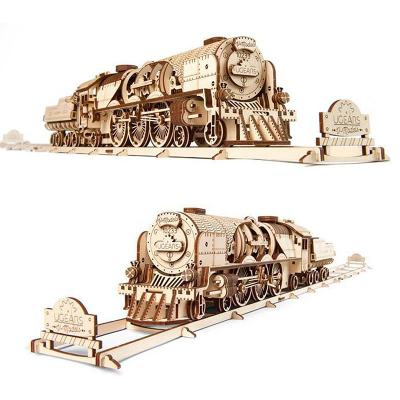 Ugears V Express Steam Train With Tender Mechanical Wooden Model Kit 70058