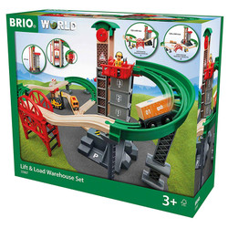 BRIO World 33887 Lift and Load Warehouse Set - Wooden Train Set