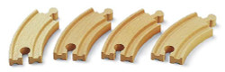 BRIO 33337 4x Short Curved Track Size E1 3.5in for Wooden Train Set