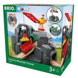 BRIO World 33889 Crane and Mountain Tunnel for Wooden Train Set