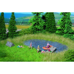 NOCH Bathing Lake Natur+ Mat 22x20cm w/ Grass Tufts (10) HO Gauge Scenics 07442