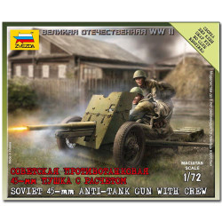 ZVEZDA 6112 Soviet Gun 45mm Snap Fit Model Kit 1:72