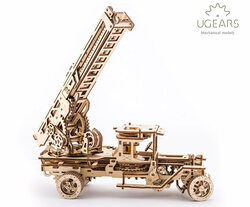 UGEARS Fire Ladder Truck- Mechanical Wooden Model Kit 70022