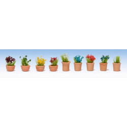 GAUGEMASTER Flowers in Pots - OO/HO Scale Set 2 (9) OO Gauge Scenics GM107