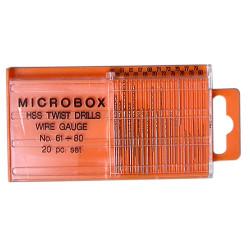 GAUGEMASTER Microbox Wire Gauge HSS Twist Drill Bits 61-80 GM649
