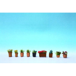 NOCH Ornamental Flowers in Pots (9) HO Gauge Scenics 14031