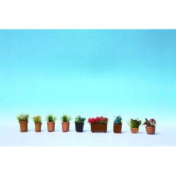 NOCH Ornamental Flowers in Pots (9) HO Gauge Scenics 14031