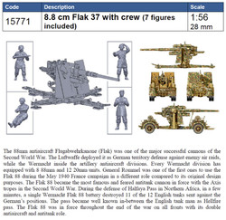 ITALERI 8.8cm Flak 37 with Crew W15771 1:56 Military Model Kit
