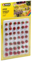 NOCH Blooming Red Grass Tufts Mini Set 6mm (42) HO Gauge Scenics 07035