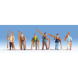 NOCH Skiers (6) Figure Set HO Gauge Scenics 15829