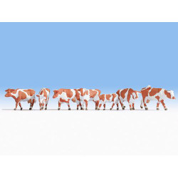 NOCH Brown & White Cows (7) Figure Set HO Gauge Scenics 15726