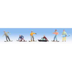 NOCH Snowboarders (6) Figure Set HO Gauge Scenics 15826