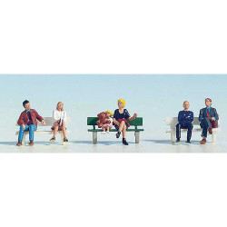 NOCH Seated People (6) and Bench Figure Set HO Gauge Scenics 15530