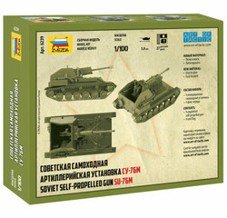 ZVEZDA 6239 SU-76M Soviet SP Gun 1:100 Military Model Kit