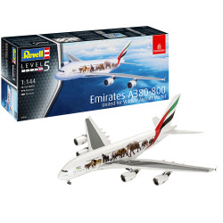 """REVELL Airbus A380-800 Emirates """"Wild Livery"""" 1:144 Aircraft Model Kit 03882"""