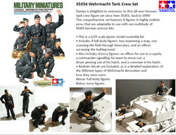 TAMIYA 35354 Wehrmacht Tank Crew Set 1:35 Figures Model Kit