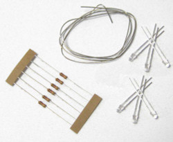 Train Tech LED Pack - Cool White (6) with Resistors & Tinned Wire HO/OO Gauge