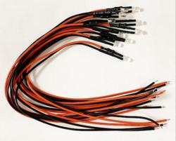 Train Tech LED Pack - 3mm Cool White 12v LED w/Wire & Resistors (10)