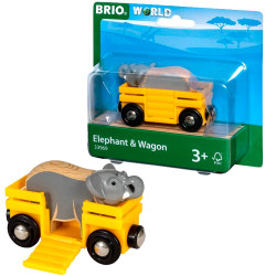 BRIO 33969 Safari Wagon & Elephant  - Wooden Train Set