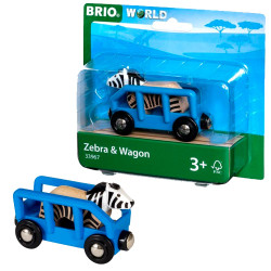 BRIO 33967 Safari Wagon & Zebra  - Wooden Train Set