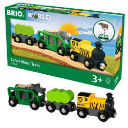 BRIO 33964 Safari Rhino Train  - Wooden Train Set