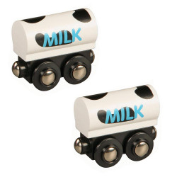Milk Train Set of 2 for Wooden Railway Train Set 50481 - Brio Compatible