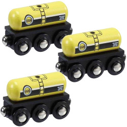 Gas & Oil Tanker Pack of 3 for Wooden Railway Train Set 50805 - Brio Compatible