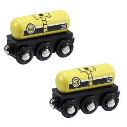 Gas & Oil Tanker Pack of 2 for Wooden Railway Train Set 50805 - Brio Compatible