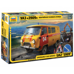ZVEZDA UAZ Gas Service Car 1:43 Plastic Model Kit Z43003