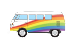 Corgi CC02739 Volkswagen Campervan - Peace Love and Rainbows 1:43 Diecast Model