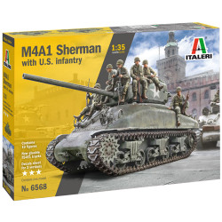 Italeri 6568 M4A1 Sherman With 7 Infantry Figures 1:720 Plastic Model Kit