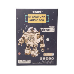 ROKR Orpheus Robot Shape Music Box Mechanical Wooden Model Kit AM601