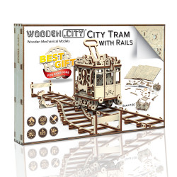 Wooden City Tram with rails Mechanical Wooden Model Kit 273pcs WR320