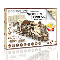 Wooden City Express with rails Mechanical Wooden Model Kit 400pcs WR321