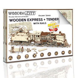 Wooden City Express + Tender with rails Mechanical Wooden Model Kit 580pcs WR323