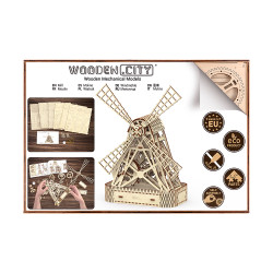 Wooden City Mill Mechanical Wooden Model Kit 222pcs WR307