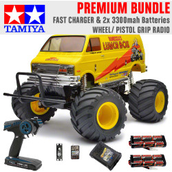 TAMIYA RC 58347 Lunch Box 2005 Monster Truck 1:12 Premium Wheel Radio Bundle