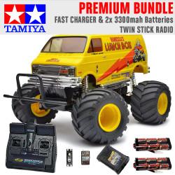 TAMIYA RC 58347 Lunch Box 2005 Monster Truck 1:12 Premium Stick Radio Bundle