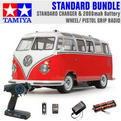 TAMIYA RC 58668 Volkswagon Type 2 Combi M-06 1:10 Standard Wheel Radio Bundle