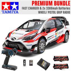 TAMIYA RC 58659 Toyota Yaris Gazoo Racing TT-02 1:10 Premium Wheel Radio Bundle