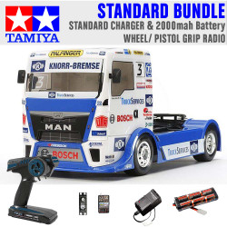 TAMIYA RC 58632 Team Hahn MAN Race Truck TT-01 1:10 Standard Wheel Radio Bundle
