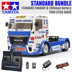 TAMIYA RC 58632 Team Hahn MAN Race Truck TT-01 1:10 Standard Stick Radio Bundle