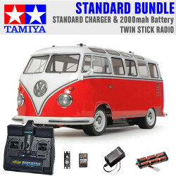 TAMIYA RC 58668 Volkswagon Type 2 Combi M-06 1:10 Standard Stick Radio Bundle